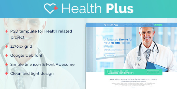 Health Plus Clinic PSD Template