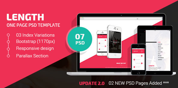 Legnth One Page PSD Template
