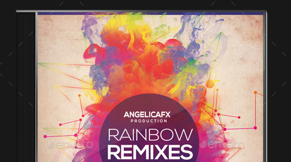 Rainbow Remixes CD Design Template
