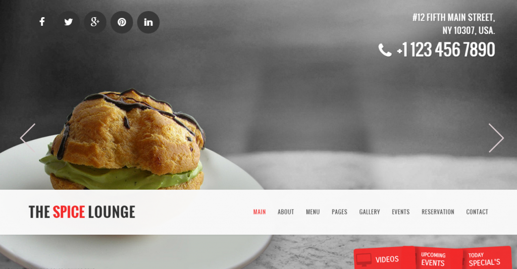 The Spice Lounge Restaurant Cafe HTML5 Template