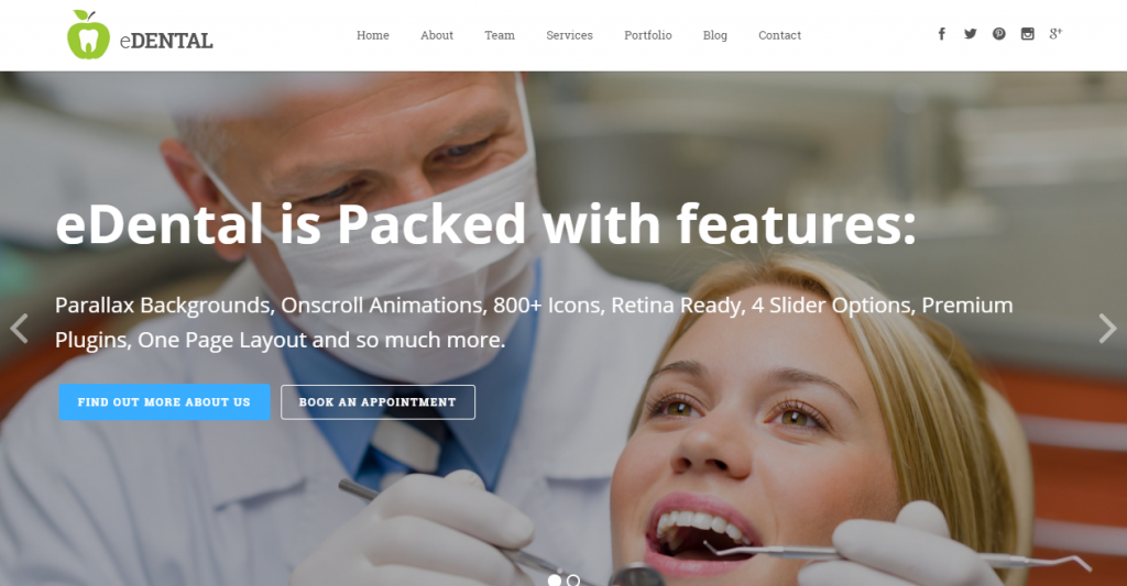 eDental Parallax Responsive WordPress Theme