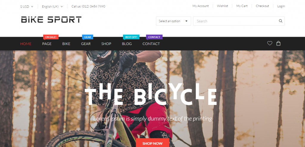 Bike Sport Hikashop Joomla Template
