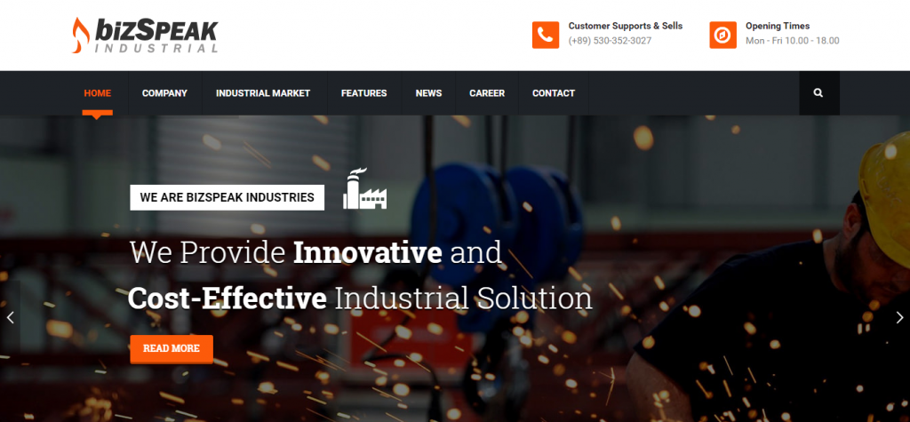 BizSpeak Industrial Joomla Business Template