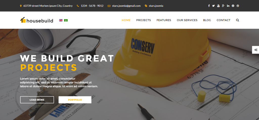 Housebuild Joomla Construction Business Theme