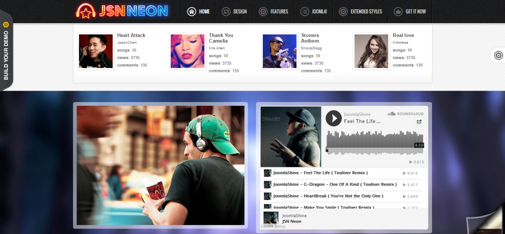 JSN Neon Joomla Music Theme & JomSocial support