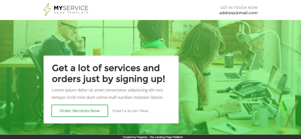 MYSERVICE SaaS Product Landing Page Template