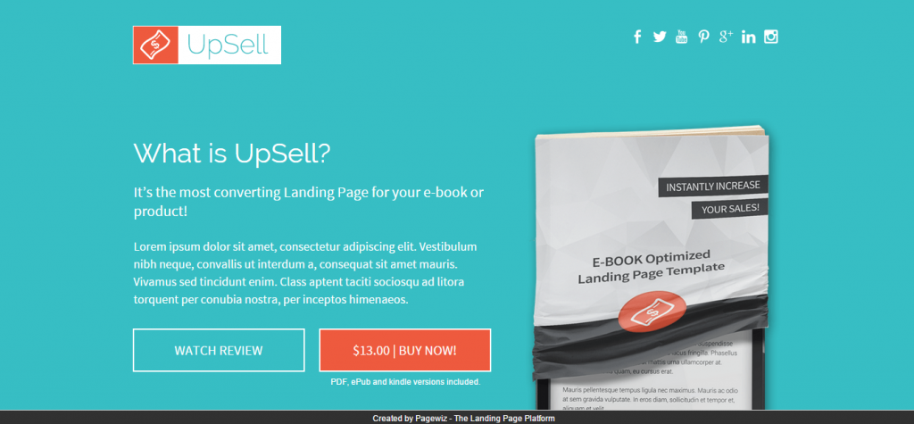 UpSell-Pagewiz Ebook Landing Page