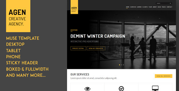AGEN One Page Responsive Muse Template
