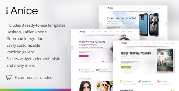 Anice Multipurpose Muse template with eCommerce