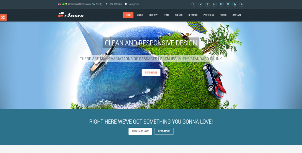 Arwen Responsive One Page Joomla Template