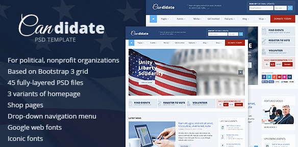 Candidate Political Nonprofit PSD Template