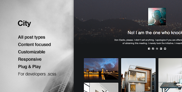 City Responsive Portfolio Tumblr Theme