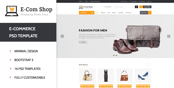 E-com Shop eCommerce Shopping PSD Template