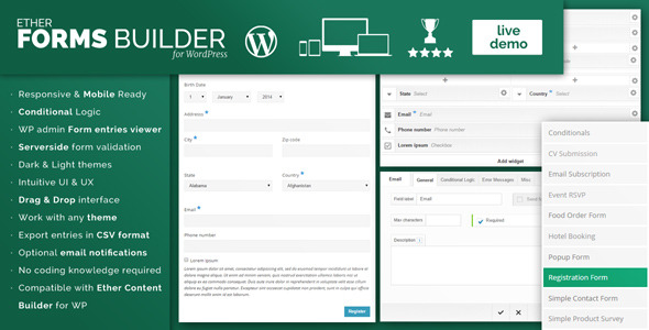 Ether Forms Builder WordPress Plugin
