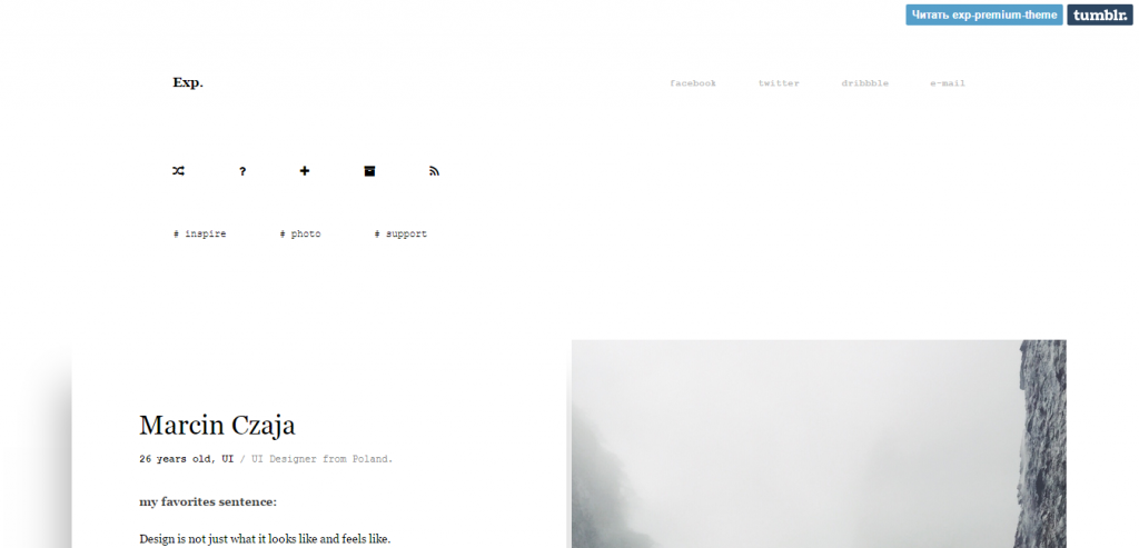 Exp Portfolio, Grid Based Tumblr Theme