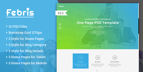 Febris Porfolio, Corporate One Page PSD Template