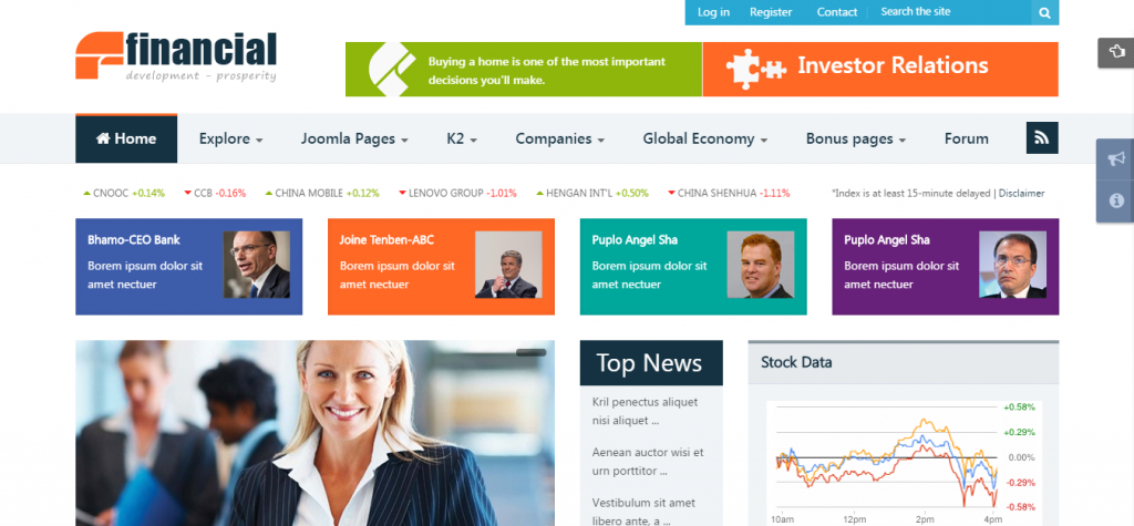 Financial Responsive Joomla News Template
