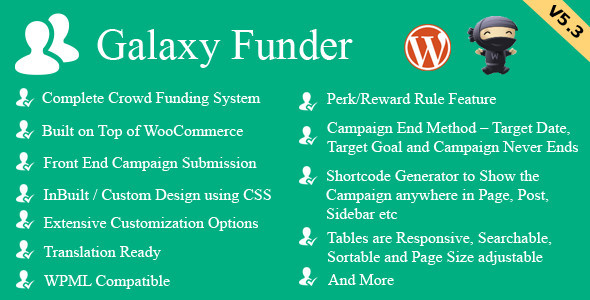 Galaxy Funder WooCommerce Crowdfunding System