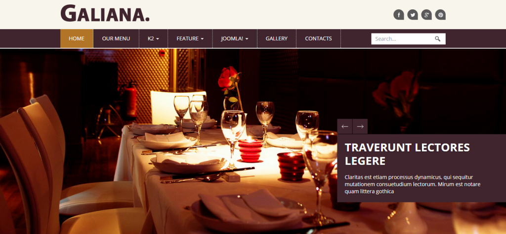 Galiana Responsive Restaurant Joomla Template