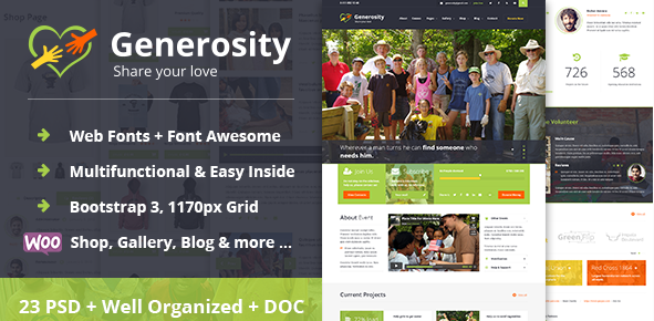 Generosity Charity Nonprofit PSD Template
