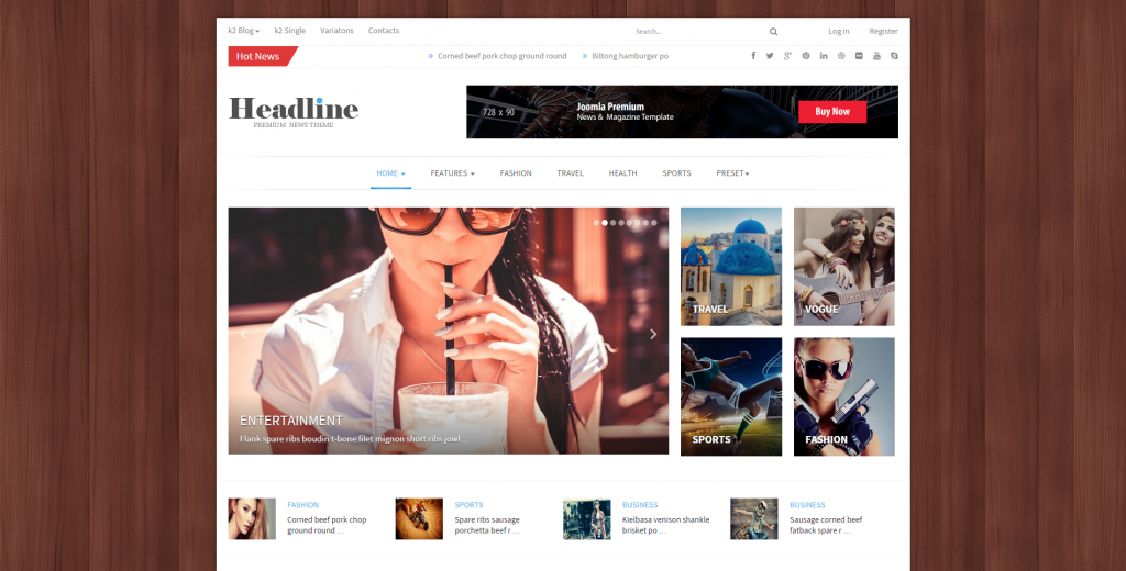 Headline Responsive Joomla News, Magazine, Blog
