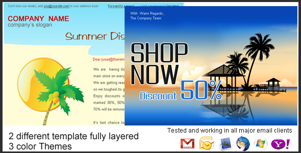 Holiday Summer Discount Sale Newsletter 2styles