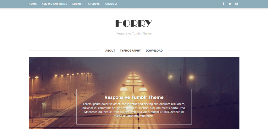 Horry Responsive Tumblr Theme