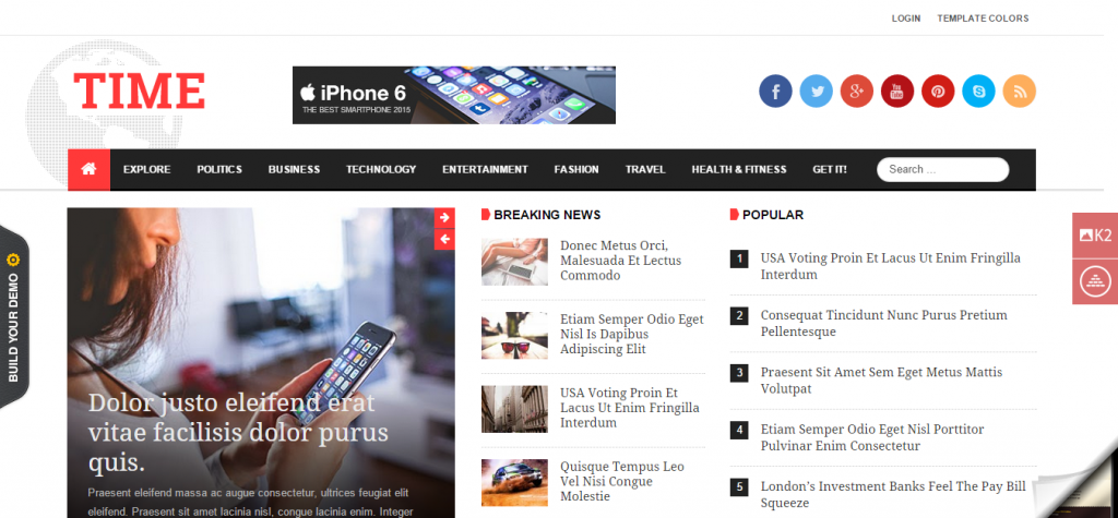JSN Time Crucial UX News Template for Joomla