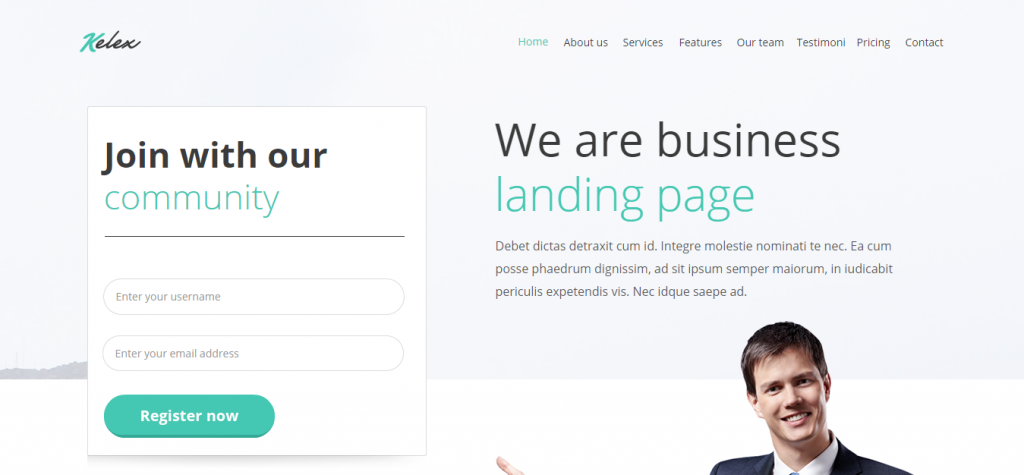 Kelex Clean and Modern Landing Page Muse Template
