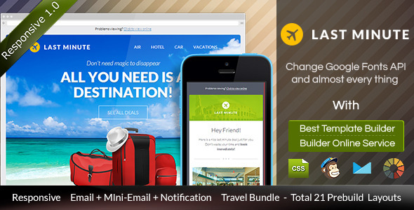 LAST MINUTE Travel Email Templates + Builder