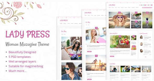 LadyPress Woman Magazine Blog PSD Template