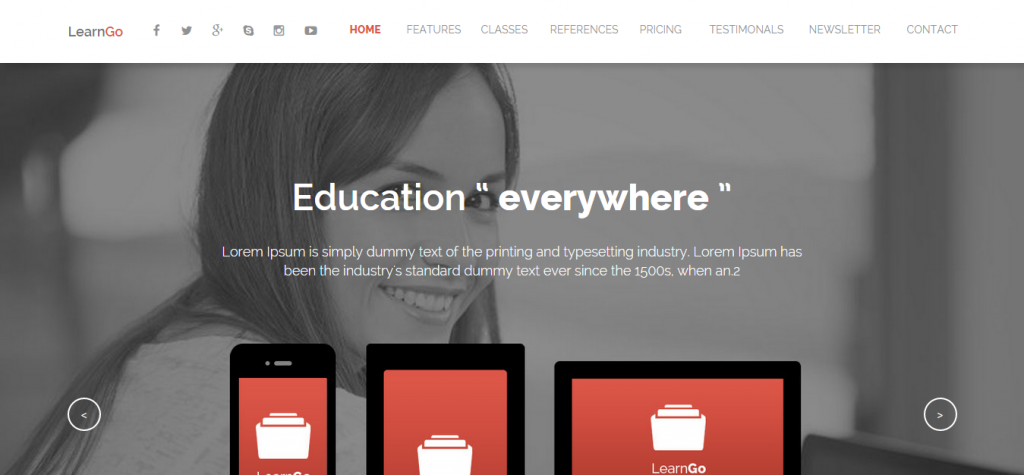 LearnGo OnePage Education Muse Template