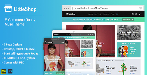 LittleShop E-Commerce Muse Theme