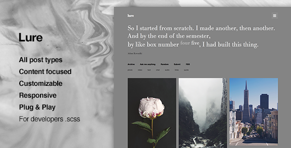 Lure Perfect Content Focus Tumblr Theme