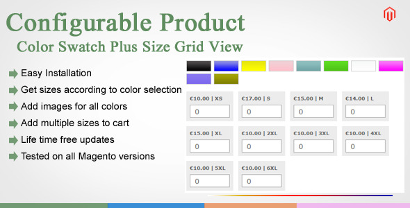 Magento Color Swatches Plus Size Grid View