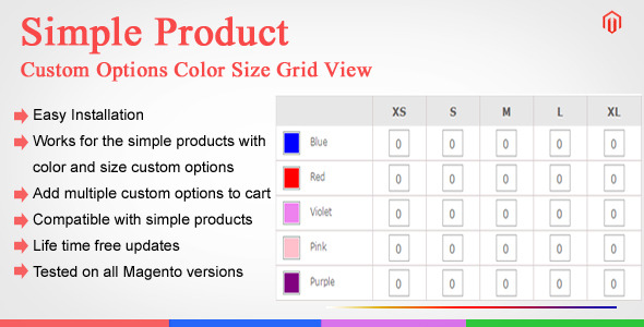 Magento Custom Options Color Size Grid View