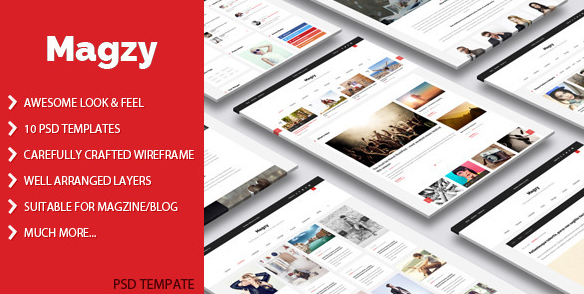 Magzy Magazine PSD template