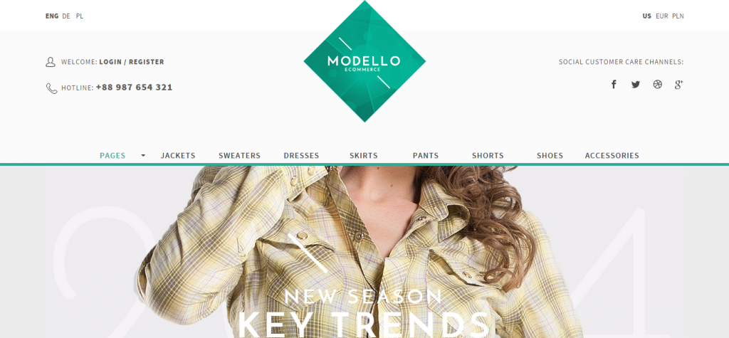 Modello eCommerce Muse Template