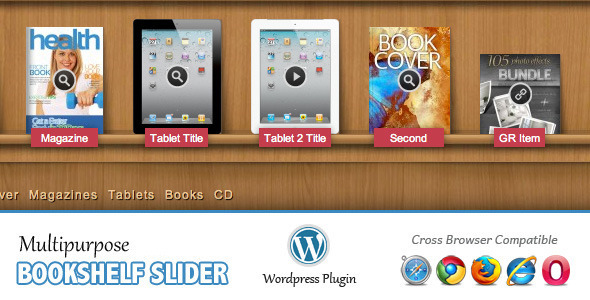 Multipurpose Bookshelf Slider WordPress Plugin