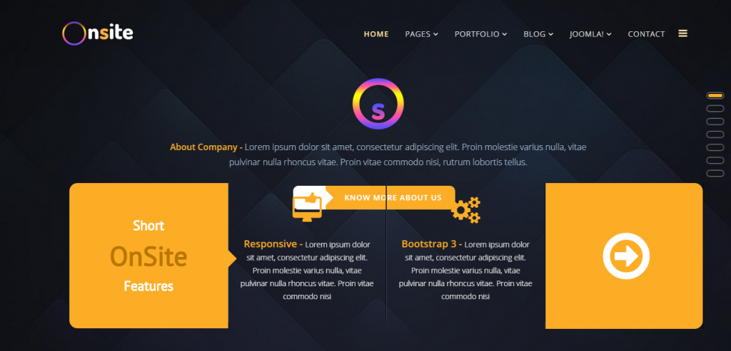 Onsite One Page Business Joomla Template