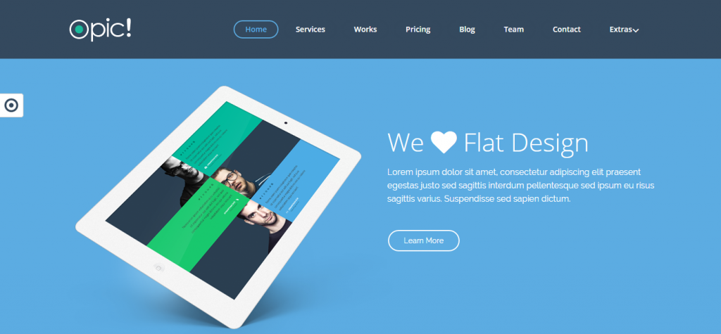 Opic! Flat One Page Responsive Joomla Template