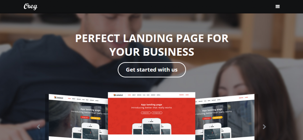 Oreg Modern and Multi-purpose Landing Page Muse Template