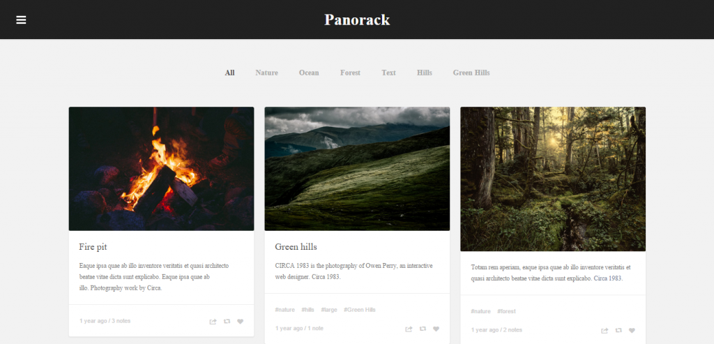 Panorack Responsive Grid Theme