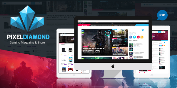 Pixel Diamond PSD Gaming Magazine Store