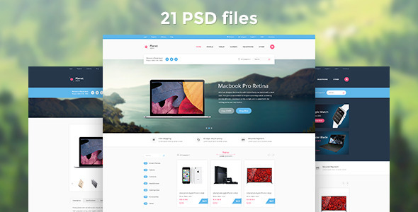 Planet Store Ecommerce PSD Template