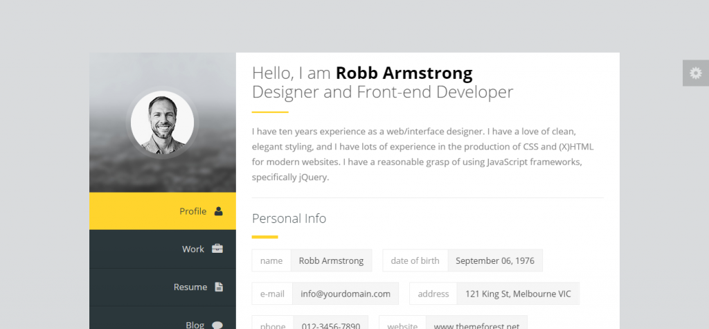 Premium Layers Joomla vCard & Resume Template