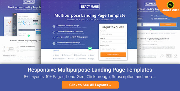 ReadyMade Muse Multiuse Landing Page Template