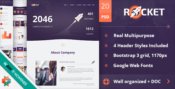 Rocket Creative Multipurpose PSD Template