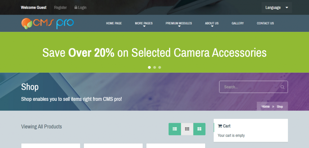 Shop Module for CMS pro