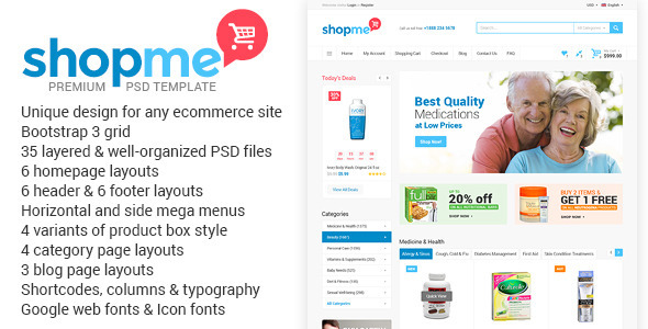 ShopMe Ecommerce Multipurpose PSD Template